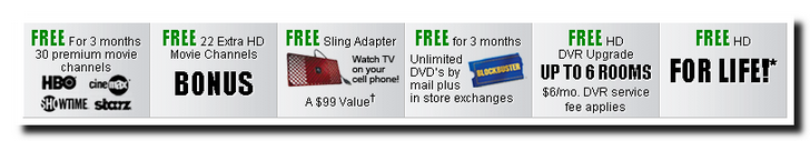 Dish Network Free Promotions for signing up today